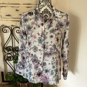 H&M floral print button up blouse